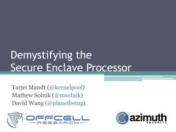 Demystifying the Secure Enclave Processor