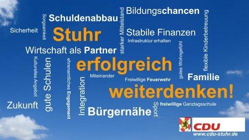 Stuhr erfolgreich weiterdenken! - Unser Programm für die Gemeinde Stuhr 2016 - 2021