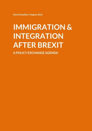 IMMIGRATION & INTEGRATION AFTER BREXIT