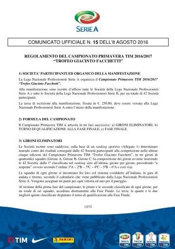 COMUNICATO UFFICIALE N 15 DELL'8 AGOSTO 2016