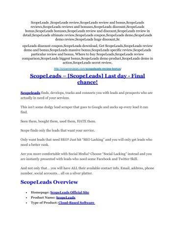 3ScopeLeads Review & ScopeLeads $16,700 bonuses