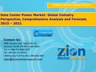 Data Center Power Market- Global Industry Perspective, Comprehensive Analysis and Forecast, 2015 – 2021
