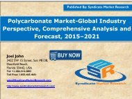 Polycarbonate Market  size and Key Trends in terms of volume and value 2015-2021