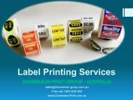 Label Printing Services - Chameleon Print Group - Australia
