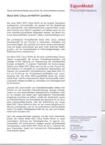 PM_Mobil SHC Cibus mit NSF H1 Zertifikat