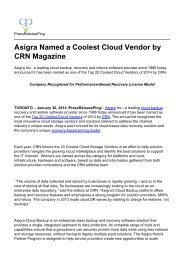 Asigra Named a Coolest Cloud Vendor by CRN Magazine