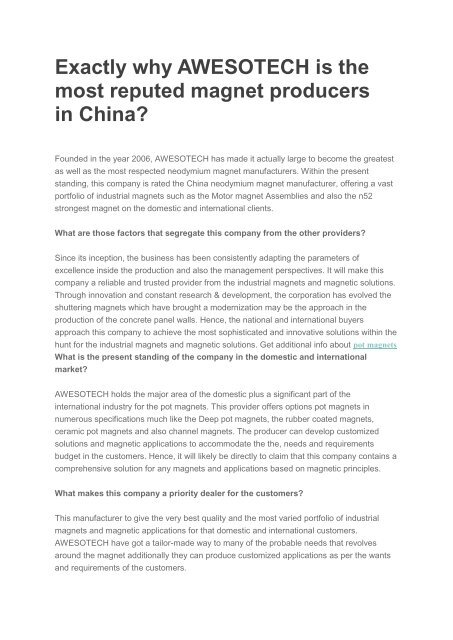 Exactly why AWESOTECH is the most reputed magnet producers in China