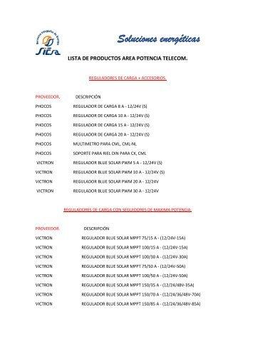 LISTA DE PRODUCTOS AREA POTENCIA TELECOM
