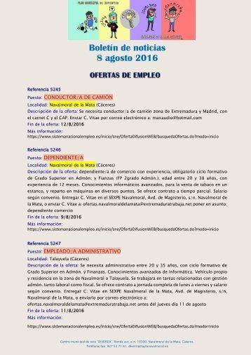 Boletín de noticias 8 agosto 2016