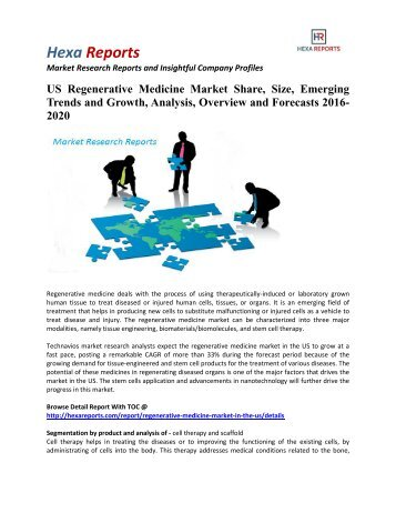 US Regenerative Medicine Market Insights | 2016 Industry Report By Hexa Reports