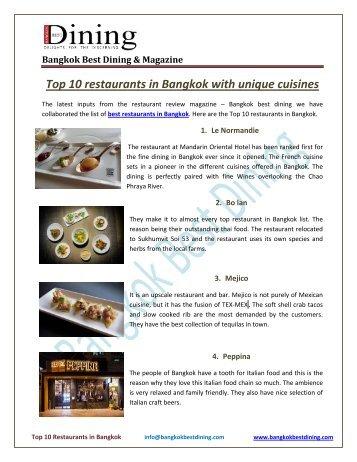 Top 10 restaurants in Bangkok