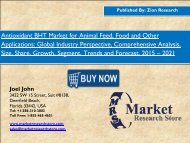 Antioxidant BHT Market will grow at a CAGR of 5.10%,globally during 2016 and 2021