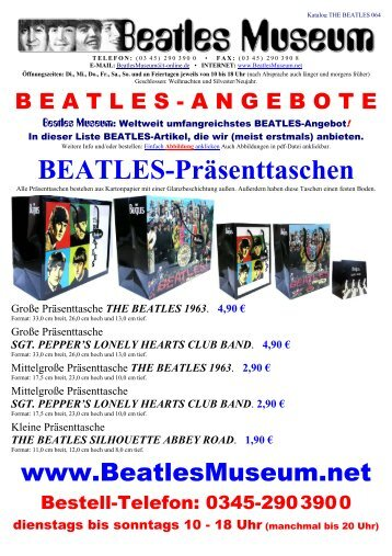 Beatles Museum - Katalog 64 mit Hyperlinks
