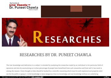 Researches by dr. Puneet chawla