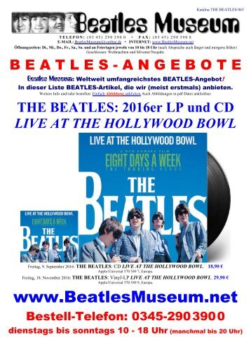 Beatles Museum - Katalog 65 mit Hyperlinks