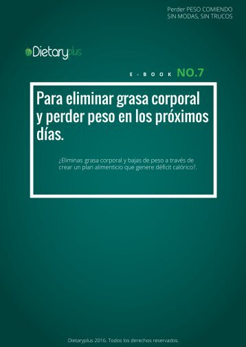 Dietaryplus. COMO ELIMINAR GRASA CORPORAL