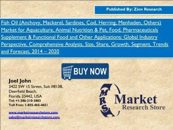 Global fish oil market will Grasp USD 2.93 Billion by 2020