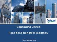 CapitaLand Limited Hong Kong Non-Deal Roadshow
