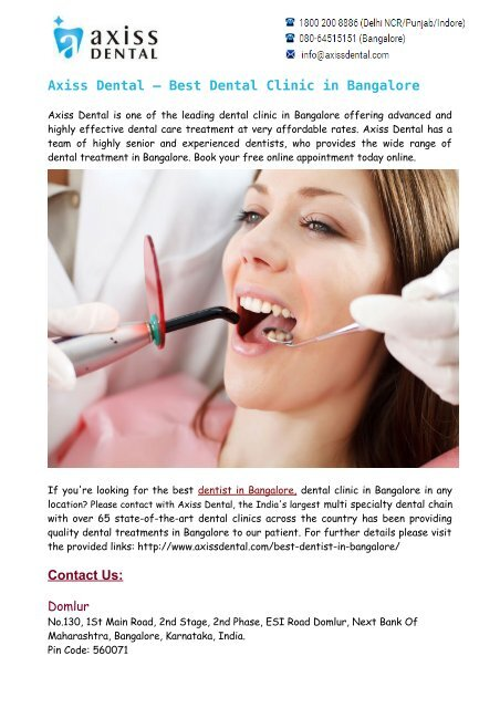 Best Dentist in Bangalore- Dental Clinic in Bangalore