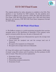 ECO 365 Final Exam & ECO 365 Final Exam Answers Free - UOP E Help