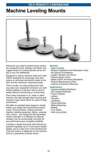 Machine Leveling Mounts - Tech Products Corporation