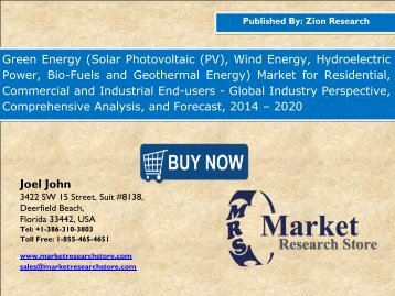 Global Green Energy Market to Expand at 8.5% CAGR till 2020