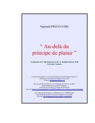 Sigmund Freud..AU DELA DU PRINCIPE DE PLAISIR
