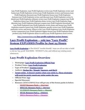 Lazy Profit Explosion Review - Lazy Profit Explosion +100 bonus items