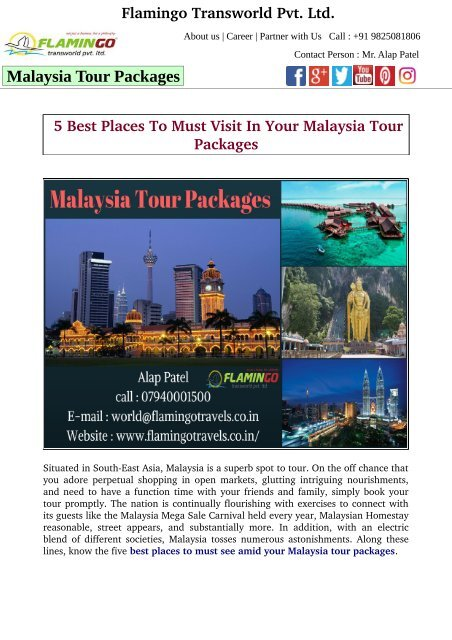 5 Best Places To Must Visit In Your Malaysia Tour Packages