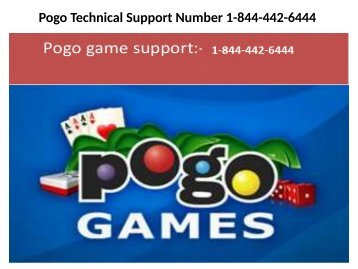 Pogo Customer Support Number_1-844-442-6444