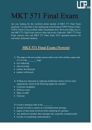 MKT 571 Final Exam: MKT 571 Final Exam Answers at UOP E Tutors