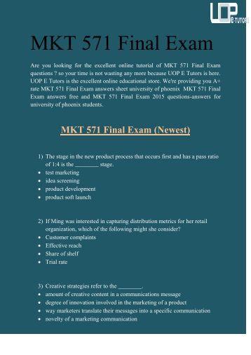 Uop mkt 571 final exam