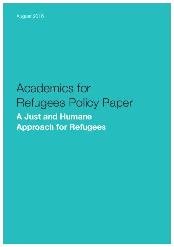 Academics for Refugees Policy Paper