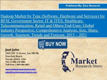 Global Hadoop Market grow at a rate of 51.0% CAGR during 2015-2021