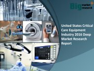 United States Critical Care Equipment Industry 2016 Forecast & Application