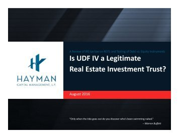 Is UDF IV a Legitimate Real Estate Investment Trust?