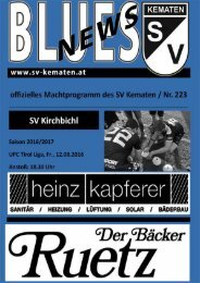 Blues News 223 zum Heimspiel gegen SV Kirchbichl