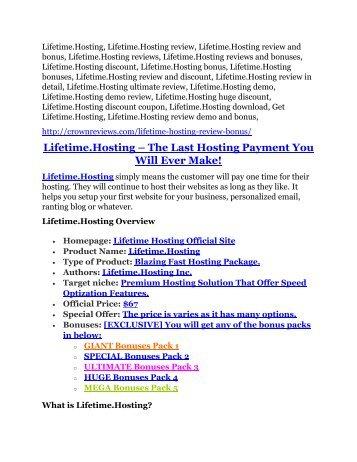 Lifetime.Hosting REVIEW and GIANT $21600 bonuses