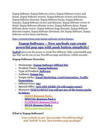 Xupop Software Review - 80% Discount and $26,800 Bonus