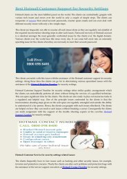 Hotmail Customer Support for Security Settings