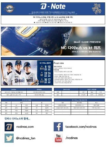 NC 다이노스(58승 37패 2무) vs kt wiz(38승 61패 2무)