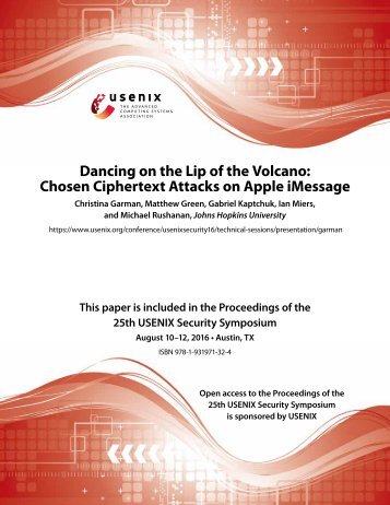 Dancing on the Lip of the Volcano Chosen Ciphertext Attacks on Apple iMessage