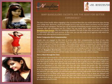 Why Bangalore Escorts are The Best for Better Experience