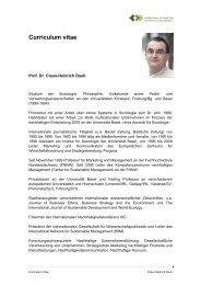 Curriculum vitae - Institut für nachhaltiges Management der ...