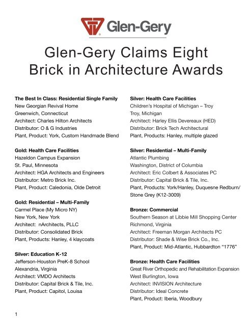 Glen-Gery Claims Eight Brick in Architecture Awards