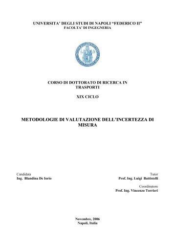 METODOLOGIE DI VALUTAZIONE DELL'INCERTEZZA DI MISURA