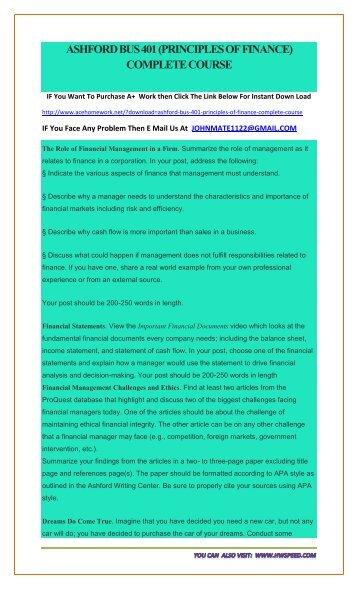 Principles of finance ashford university assignment