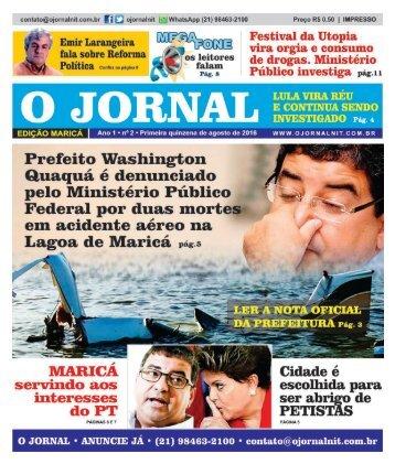 O JORNAL MARICÁ ED 2 - PRIMEIRA QUINZENA DE AGOSTO DE 2016