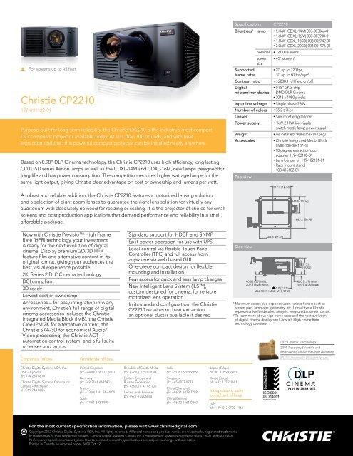 Christie CP2210 Datasheet - Christie Digital Systems