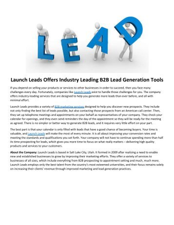 Launch Leads Offers Industry Leading B2B Lead Generation Tools